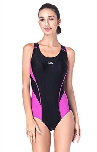 [LJYH Women swimming costume one piece swimsuit swimwear flat seams, Sport Bulit in Bra Soft Cups] (Swimming Costume For Womens)