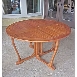 Royal Tahiti Yellow Balau Hardwood 51.5-inch Outdoor Round Gateleg Table