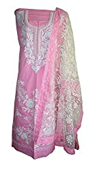 eco haat Hand Crafted vibrant Traditional unstitched Pink &White Salwar Suit Dress Material