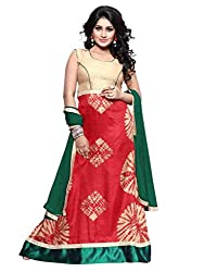 BanoRani Red & Green Color Red Batik Print UnStitched Gown with Dupatta