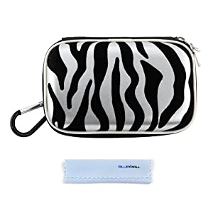 GTMax Glossy Silver Zebra Carrying EVA Case + Cleaning Cloth for Olympus Tough TG-1 iHS, TG-2 iHS, TG-830 iHS; Panasonic Lumix DMC-FT5, DMC-TZ40; Samsung EX2F; Pentax Optio WG-10, WG-3, WG-2 Digital Camera