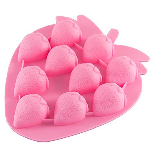 Moule en silicone en forme de fraises pour glaçons, chocolat, pâte d'amande, mini muffins, pralines Rose