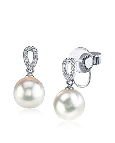 Radiance Pearl 8mm White Freshwater Pearl & Diamond Earrings As You See