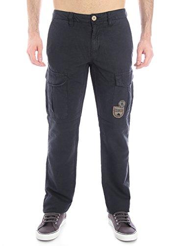 Napapijri-Pantalone multi-tasche in lino e cotone - blu scuro-Male-4794489