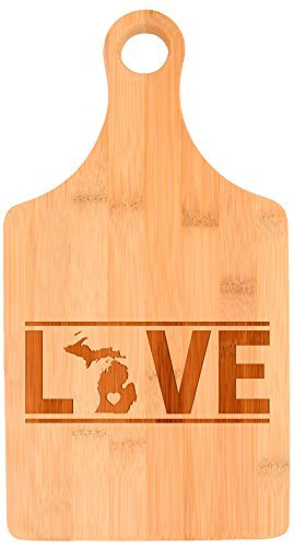 Housewarming Gift Michigan State Pride Couples Wedding Gift Paddle Shaped Bamboo Cutting Board