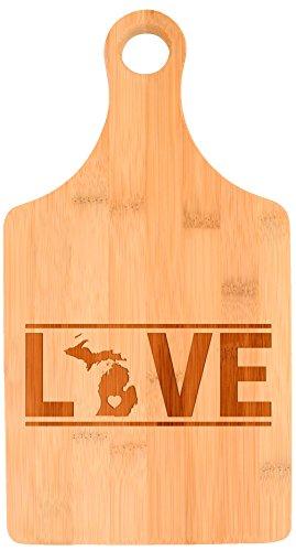 Housewarming Gift Michigan State Pride Couples Wedding Gift Paddle Shaped Bamboo Cutting Board