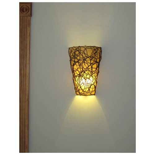 Wall Sconces Battery Operated : Lamps Lights And Lighting: Battery Operated Wall Sconce - Wicker Style with Remote