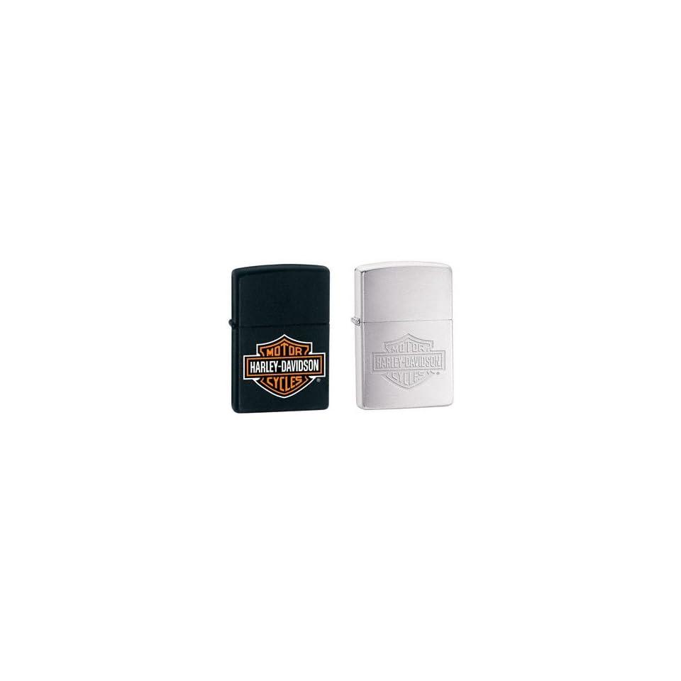 Zippo Lighter Set   Harley Davidson Black Matte Name Logo and Brushed Chrome Engraved Name Logo, Pack of Two