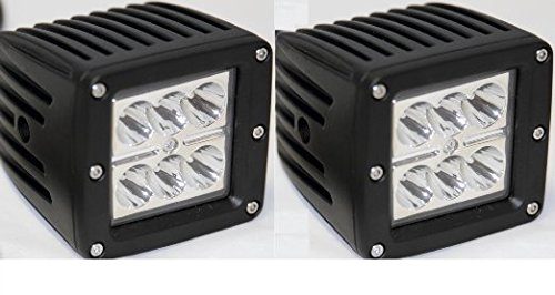 """Mictuning 3"""" Led Driving Light Dually D2 3X3 Atv Tractor Jeep Motorcycle Bike Boat Spot Pod Light Beam (Pack Of 2)"""