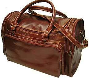 Floto Luggage Torino Duffle Travel Bag, Vecchio Brown, Large Torino Leather Duffle Bag