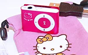 Hello Kitty 8gb PINK mp3 player with headphones cute design with soft carry case PLUS FREE KITTY BADGE