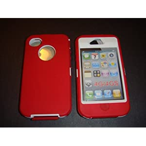 Iphone 4 4s Defender Style 3 Layer Case Red and White By Dollar Deals