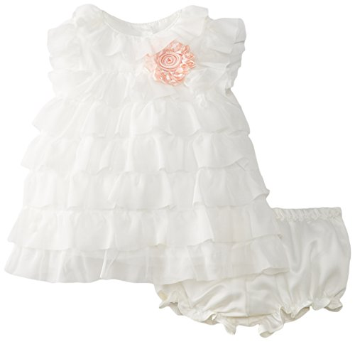 Pippa & Julie Baby-Girls Infant Ruffled Baby Dress, White, 6-9 Months
