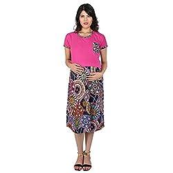 MomToBe Maternity Dress Pink Multi Print (mohpkmd1094-l_Pink_Large)