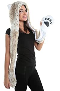 Snow Leopard Faux Fur Full Animal Hood Hoodie Hat with Paws Mittens Gloves New