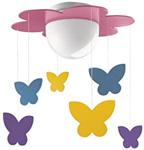 Philips MyKidsRoom Meria Children's Ceiling Light Fuchsia (Includes 1 x 15 Watts E27 Bulb) from Philips