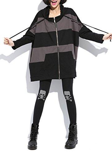 MeMoreCool Cappotto Cappuccio Cerniera Casual Scollo A V Color Block Coat cuciture Black Taglia unica
