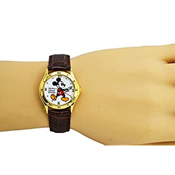"Disney Unisex Watch Mickey Mouse ""Vintage"". Gold-Tone Analog Display. Dark Brown Band 9""."