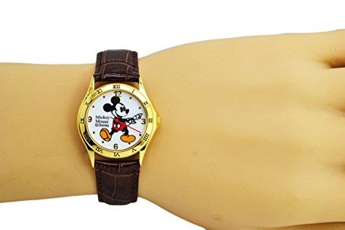 "Disney Unisex Watch Mickey Mouse ""Vintage"". Gold-Tone Analog Display. Dark Brown Band 9"". 1"