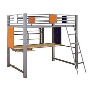 powell teen trends study loft bed full white desk for teens bg e2