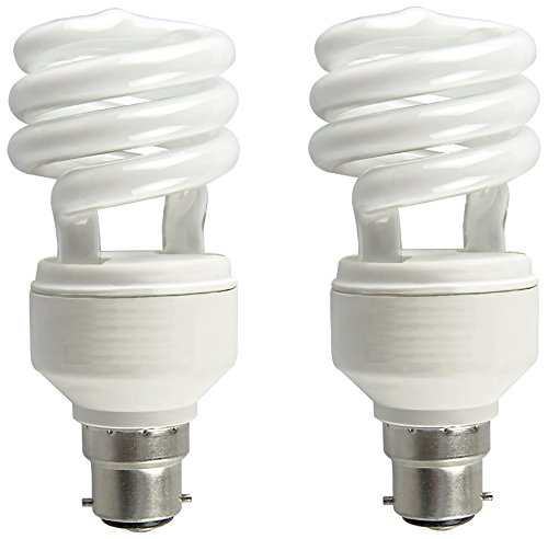 Mini Spiral B22d 5W CFL Bulb (Warm White/Golden Yellow, Pack of 2)