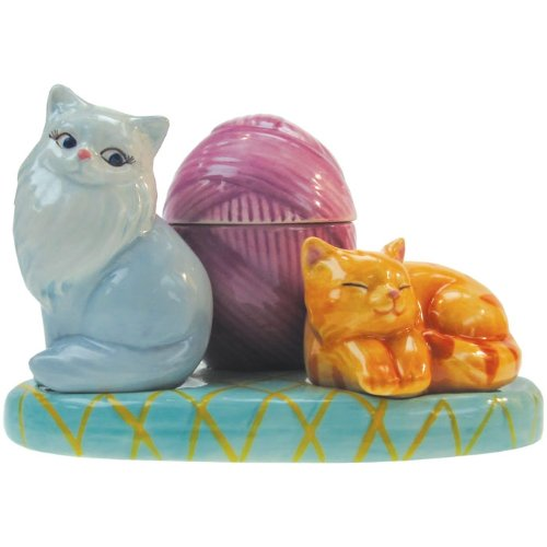 Acquisition Westland Giftware Mwah Cats Magnetic Ceramic Salt And Pepper Shaker With Toothpick Holder Set, 3.25-Inch save