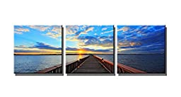 Wieco Art Bridge Under Sunset Canvas Print Modern Canvas Wall Art for Home and Office Decorations