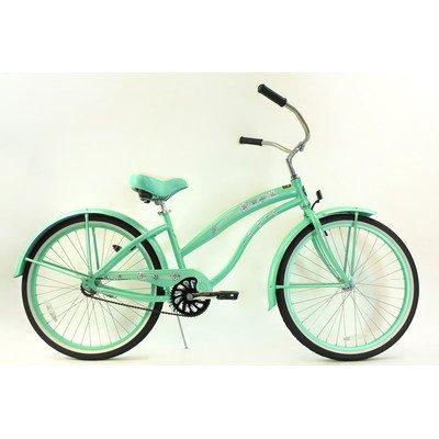Women's Single Speed Aluminum Beach Cruiser Frame Color: Mint Green