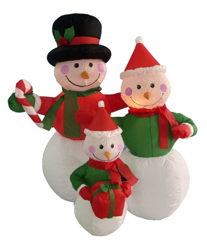 4' Airblown Inflatable Snowman Family Lighted Christmas Yard Art Decoration front-142940