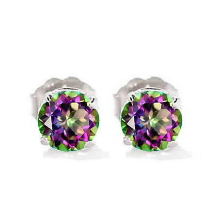 Natural 6MM Round Cut Mystic Topaz Stud Earrings In 14K White Gold 1.80 CTW