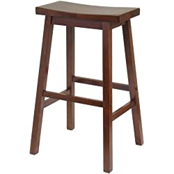 Winsome Wood 29-Inch Saddle Seat Stool, Walnut