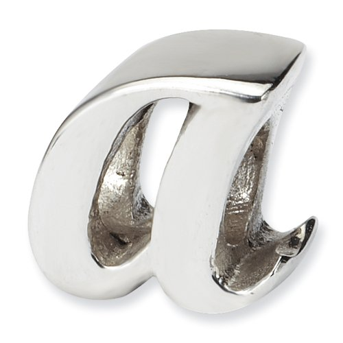 .925 Sterling Silver Letter A Script Bead