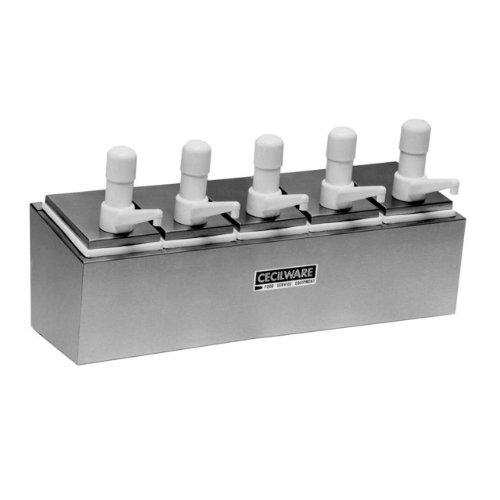 Grindmaster Cecilware 544S Super Pumps Condiment Rail With 5 Plastic Pumps/5 Covers/5 Crushed Fruit Jars/Rails