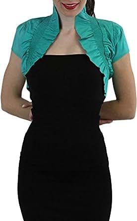 ToBeInStyle Women's Ruffled High Collar Bolero Short Sleeve Jacket (Small, Soft Teal)