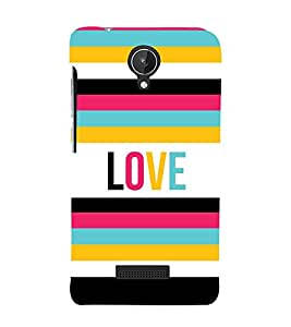 Love Colorful Lines 3D Hard Polycarbonate Designer Back Case Cover for Micromax Canvas Spark Q380