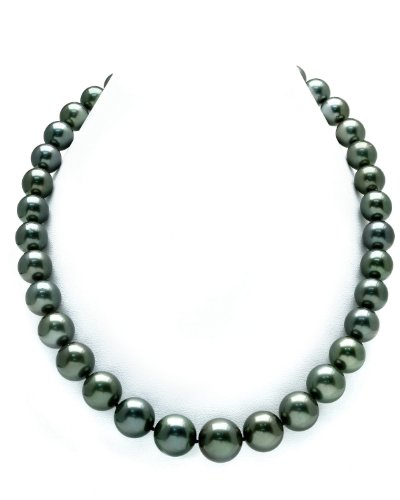 10-13mm Tahitian South Sea Pearl Necklace - AAA Quality, 18 Inch Princess Length, 14K Gold Clasp