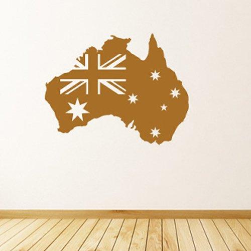 Australian Flag Wall Stickers Mappa Adesivo Art disponibile in 5 dimensioni e 25 colori Extra-Small Blu Reale