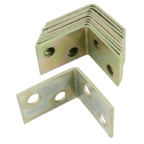 10 Pcs 25x25x16mm 90 Degree Metal Right Angle Bracket Shelf Support (Brass L Bracket compare prices)