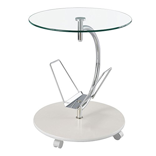 サイド テーブル ガラス キャスター スリム ソファ ベッド ワゴン 収納 ナイトテーブル ホワイト