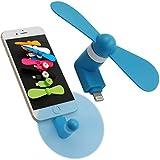 携帯型ミニ扇風機 小型 冷風機 2枚羽根 省エネ静音 スマホ アクセサリー 携帯できる 持ち運び便利 夏場 旅行 に最適 熱中症対策 iphone5/6/6s/6s plus ipadに対応 (青色)