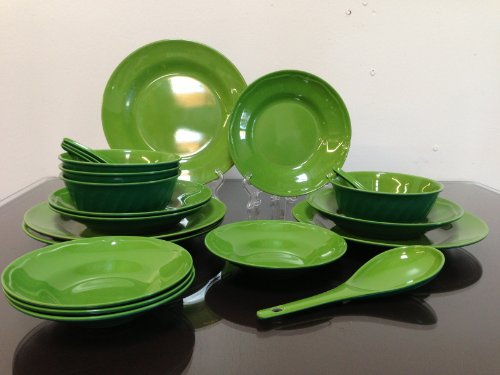 21-Piece Melamine Dinnerware Set Dipping Bowl Plate Spoon 2 Tone Color Green/Greenmoss (Fda Compliance)