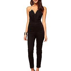 46016b9c114f mywy - Tuta fascia donna elegante jumpsuit nera overall verde party rompers  discoteca