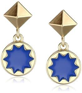 House of Harlow 1960 Gold-Plated Sunburst Cobalt Blue Drop Earrings