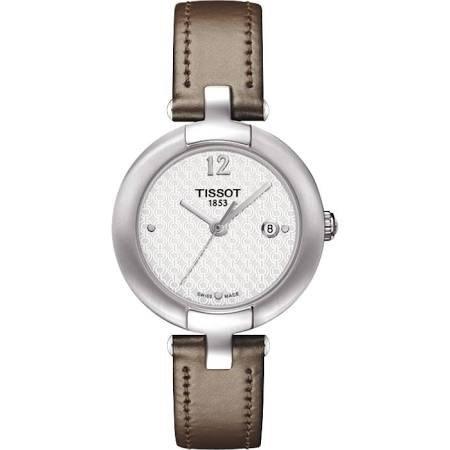 Tissot t084, 210,16,017,01 27 mm de acero inoxidable caja de acero de color marrón de piel de becerro de las mujeres de los relojes de Zafiro Sintético