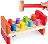 D-Mcark Toddlers Early Educational Plan Toy Colorful Wooden Pounding Bench for Baby Kids