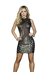 Mapale by Espiral Women's Super Sexy Metallic and Mesh Club Dress, Gold, Medium