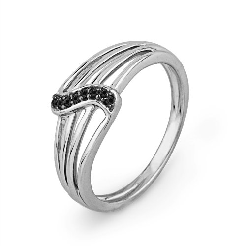 Platinum Plated Sterling Silver Round Diamond Black Twisted Fashion Ring (0.03 CTTW)