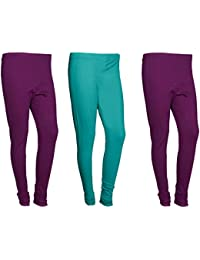 Indistar Women Cotton Legging Comfortable Stylish Churidar Full Length Women Leggings-Purple/Turquoise-Free Size-Pack...