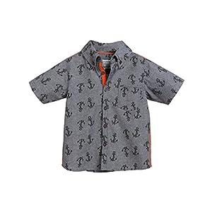 Rockin' Baby Big Boys Grey Chambray Anchor Print Samual Cotton Shirt 8-10