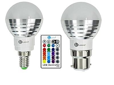 LONOVE RGB 3W B22 E14 Rgb LED Smart light bulb Wireless Ir Remote AC110V 220V